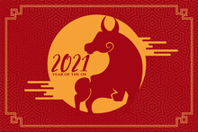 Chinese Year Of The Ox 2021 On Red Background