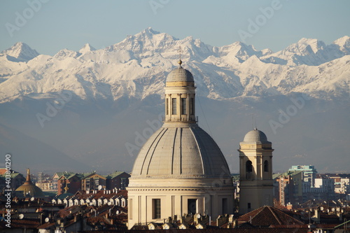 Fototapeta Italy, Turin: panoramic view of the city and the Alps