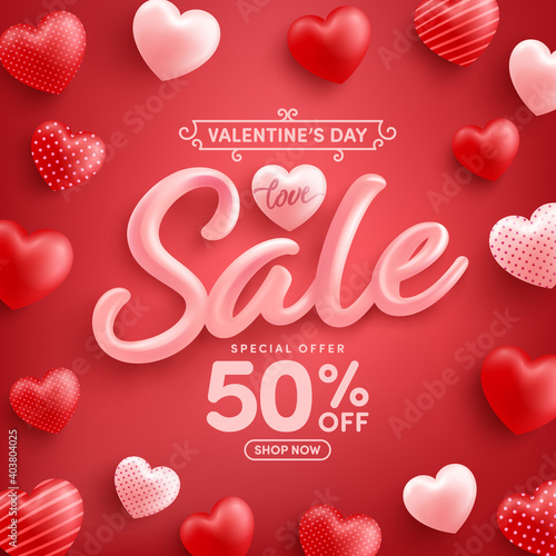Valentine's Day Sale 50% off Poster or banner with sweet hearts on red background.Promotion and shopping template or background for Love and Valentine's day concept.