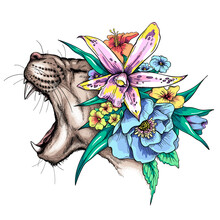 Cartoon Angry Wild Cat Head In A Floral Wreath. Beautiful Predator With Flowers. Stylish Image For Printing On Any Surface