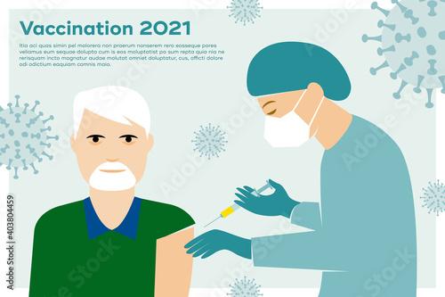 Obraz Impfung gegen Corona, Covid-19, Krankenpfleger mit Mundschutz impft älteren Mann ohne Mundschutz - fototapety do salonu