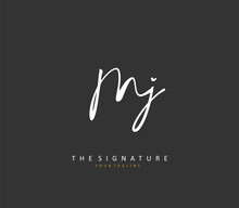 MJ Initial Letter Handwriting And Signature Logo. A Concept Handwriting Initial Logo With Template Element.
