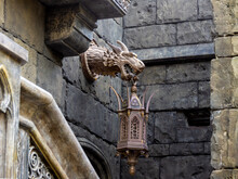 Bronze Lantern On The Wall Of A Stone Castle, Selective Focus