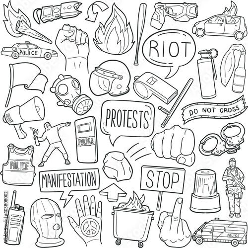 Fototapeta Riot Protest doodle icon set