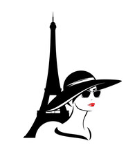 Beautiful Elegant Woman Wearing Sunglasses And Wide Brimmed Hat With Eiffel Tower Behind - Fashion Girl Travel In Paris Vector Portrait