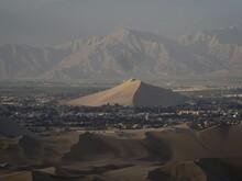 Panorama View Of Cerro Saraja Sand Dune Pyramid Hill Mountain In Ica City Town Coastal Dry Desert Huacachina Peru