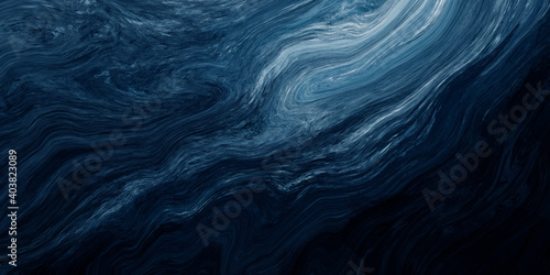 Abstract dark blue paint background with liquid fluid grunge texture for background, banner or abstract art.