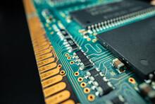 Macro Photo Of Electronic Circuit Board In Computer