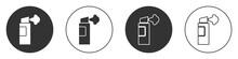 Black Pepper Spray Icon Isolated On White Background. OC Gas. Capsicum Self Defense Aerosol. Circle Button. Vector.