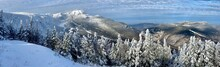 Panoramic Mountain View Of Beautiful Mountain Peaks At Snow Day On The Top Of Stowe Mountain Ski Resort, Vermont - December 2020