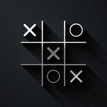 Silver Tic Tac Toe Game Icon Isolated On Black Background. Long Shadow Style. Vector.