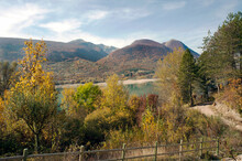 The Artificial Lake Barrea Among The Marsicani Mounts Created In 1951 By A Dam Of The Sangro River In The National Park Of Abruzzo. Barrea, Aquila, Abruzzo, Italy.