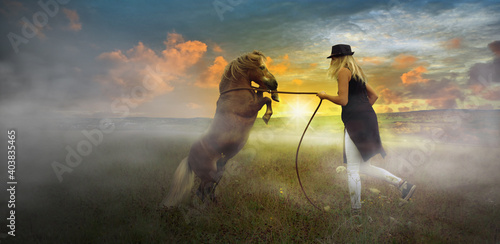 Fotografering Young woman training with her pony horse, stallion climbing on 2 hooves in the evening with ground fog and sunset