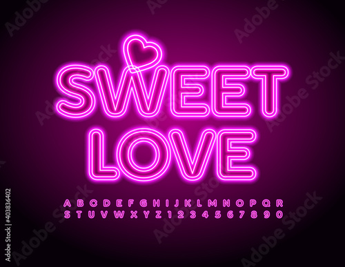 Obraz Vector cute text Sweet Love with Decorative Heart. Pink Neon Font. Glowing Alphabet Letters and Numbers set - fototapety do salonu