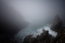 Cornish Mist Looking Down From Headland