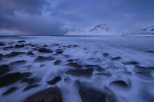 Long Exposure Of Rocky Coastline At Skagsanden Beach, Flakstad√∏y, Lofoten Islands, Norway