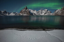 Northern Lights Shine In Sky Over Olstind Mountain Peak, Moskenes√∏y, Lofoten Islands, Norway