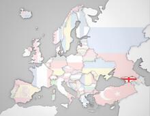 3D Europakarte Auf Der Georgien Hervorgehoben Wird Und Die Restlichen Flaggen Transparent Sind