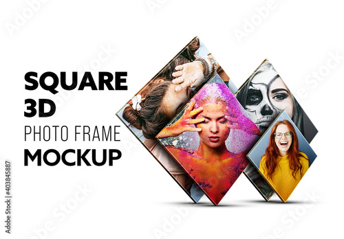 Obraz Square Photo Frame Mockup - fototapety do salonu