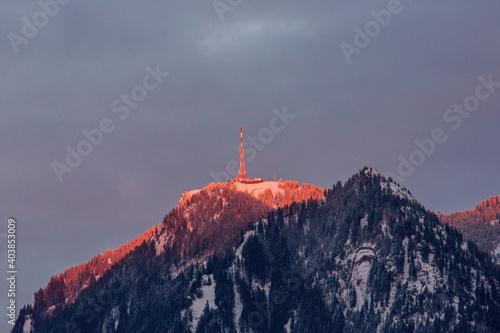 Cuadros en Lienzo Grünten - Abendrot - Alpenglühen - Allgäu - Berg - Burgberg