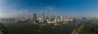 drone panorama of Ho Chi Minh City, Vietnam skyline with view of Saigon River with boats and ships