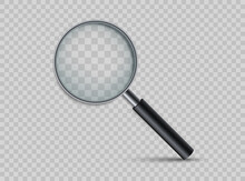 Realistic Magnifying Glass. Magnifying Tool With Shadow. Loupe For Magnify On A Transparent Background.
