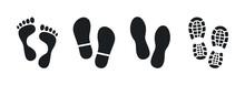 Human Footprints. Bare Foot Prints. Shoe Soles Print. Black Traces Of Human. Step Footprints. Shoe Tread Prints.