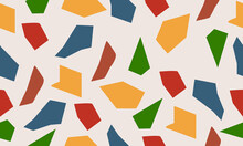 Terrazzo Seamless Patterns With Colorful Rock Fragments. Set Of Backdrops With Stone Pieces Or Sprinkles. Bundle Of Rock Textures. Vector Illustration For Wrapping Paper, Textile Print.