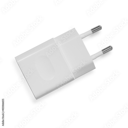 white power adapter for charging phone isolate Fototapet