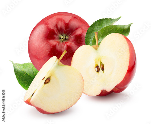 Fotografie, Obraz red apples with slices and green leaves isolated on a white background