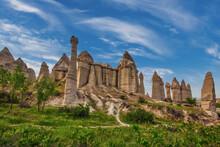 Unusual Rock Formations In Love Valley In Cappadocia, Popular Travel Destination In Turkey