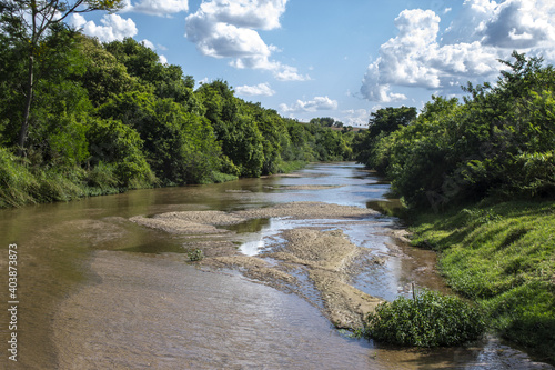 Beautiful shot of sandbanks on a silted riverbed in Brazil Fototapet