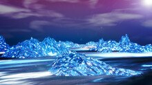 Land Of The Ice Landscape With The Sunrise And Concept Shiny Diamond Style., 3D Rendering