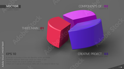 Fototapeta 3d vector infographic banner with three color sectors and place for your text. Eps10. obraz