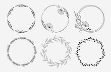 Set Of Floral Wreaths. Floral Circles. Logo Design.