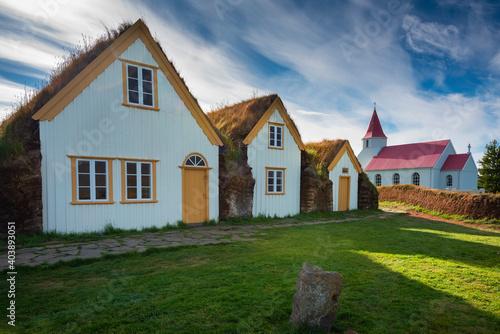 Icelandic historic turf farm Glaumbaer. North Iceland #403893051