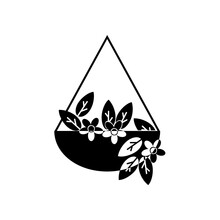 Ampel Plants, Silhouette Of A Houseplant In A Hanging Planter, Flower And Leaves Icon For Home Decor
