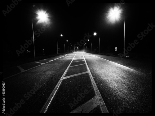Surface Level Of Empty Road At Night