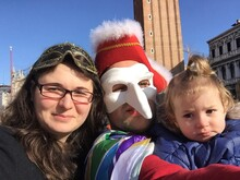 Portrait Of Man In Costume With Family Standing Against St Mark Campanile