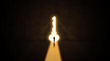 Businessman Walk Through A Light Keyhole Door From A Dark Big Room, Wall Grunge And Dirty Floor, Creative Concept Idea, Surreal Door Concept, Conceptual Silhouette Key Door Freedom