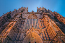 York Minster Iconic Gothic Style Medieval Cathedral In The Heart Of The Town At Night