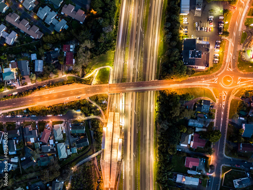 Fotografia, Obraz High Angle View Of Light Trails On City Street At Night