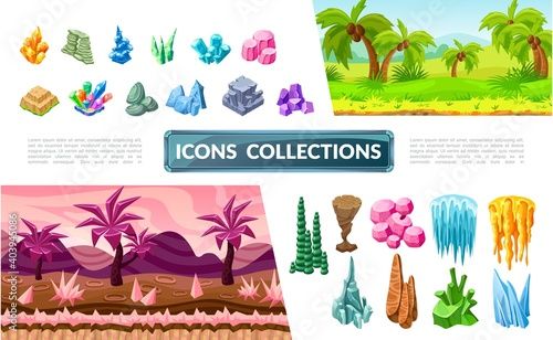 Colorful Game Landscape Elements Collection