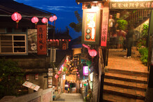 Night Street View Of The Famous Small Mountain Village, Old Town Jiufen
