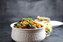 Baingan Masala Or Baingan Curry Or Eggplant Curry Or Bainki Sabzi Is Very Popular Indian Vegetarian Dish Served With Roti,bhakhri Or Chapati.