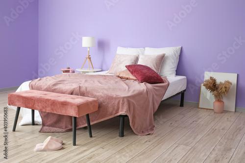 Obraz Stylish interior of modern bedroom - fototapety do salonu