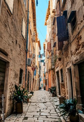 Billede på lærred Vertical shot of an emptyalley of houses