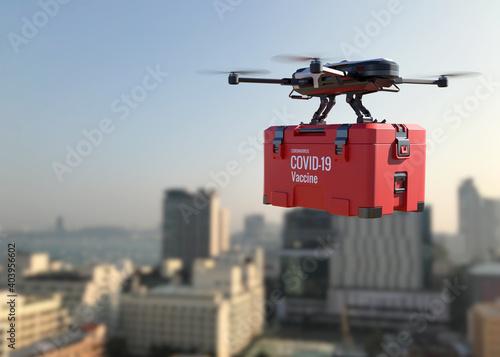 Drones deliver the COVID-19 vaccine into the city.
