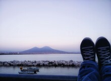 Low Section Of People On Vesuvio Against Clear Sky
