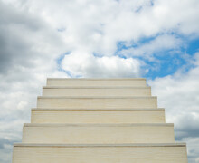White Ladder Of Success With A Sky Background